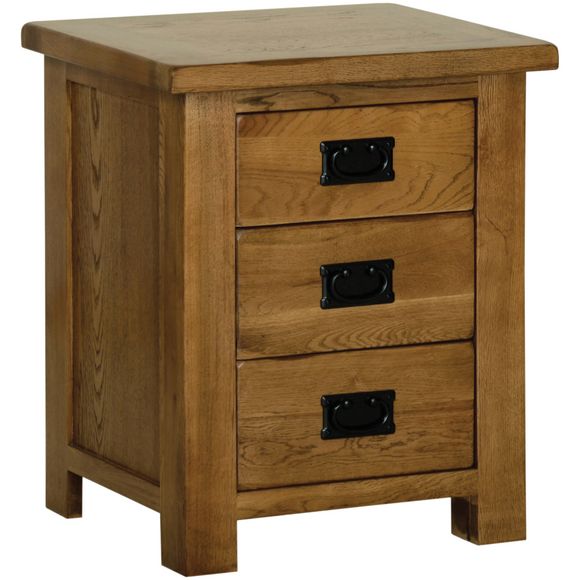 Petersfield Oak 3 Drawer Bedside