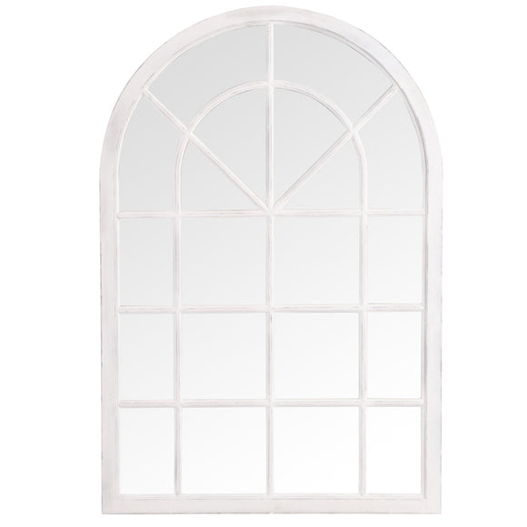Small White Arched Mirror