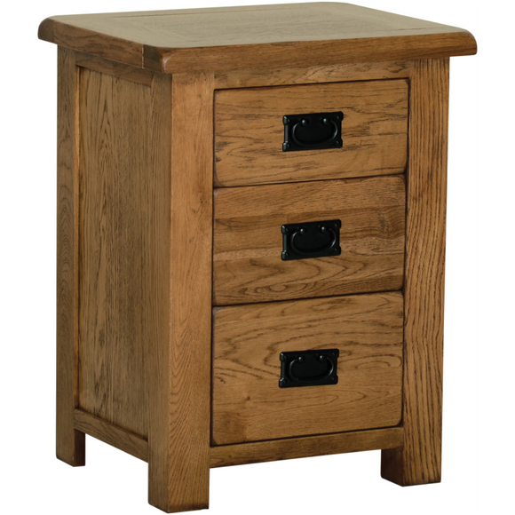 Petersfield Oak High 3 Drawer  Bedside
