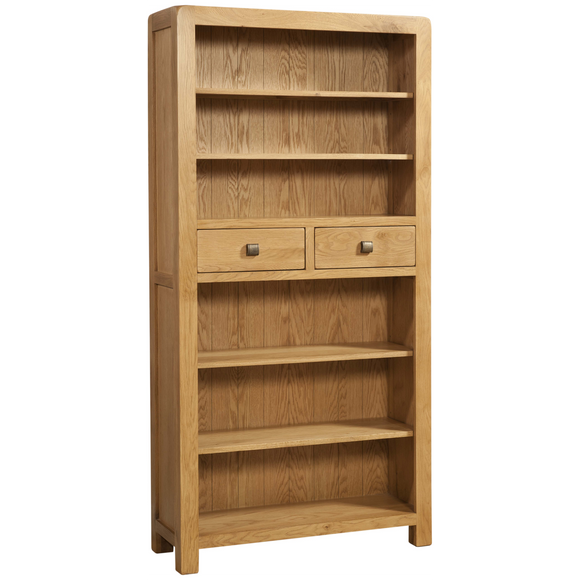 Sway Oak Tall Bookcase with 2 Drawers