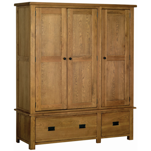Petersfield Oak Triple Wardrobe with Drawers
