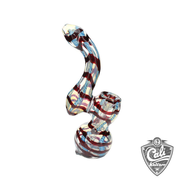 7.5'' Fumed Glass Bubbler with Stripes