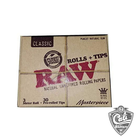 RAW Classic Rolls + Tips - King Size Masterpiece Kit - 3 Meter Roll + 30 Pre Rolled Tips