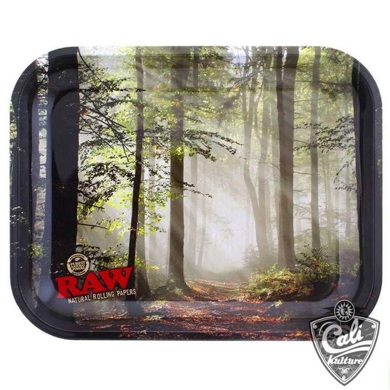 Raw Large Metal Rolling Tray 13'' x 11'' - Forest