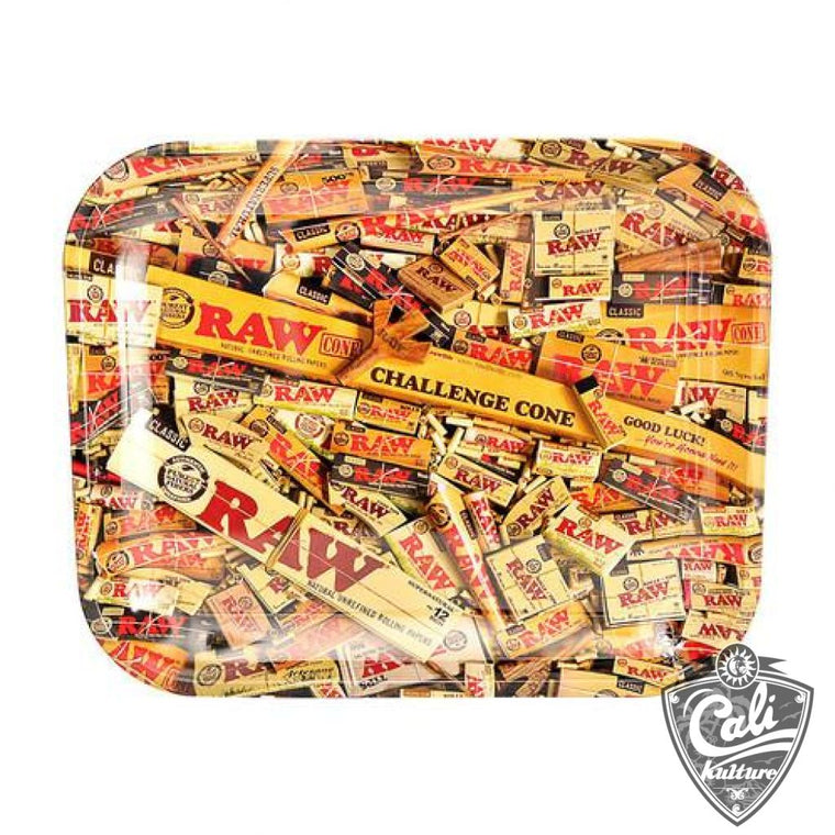 Raw Large Metal Rolling Tray 13'' x 11'' - Mixed Items