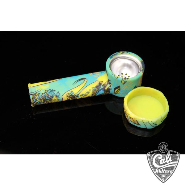 Silicone 3.5'' Hand Pipe with Metal Screen and Design