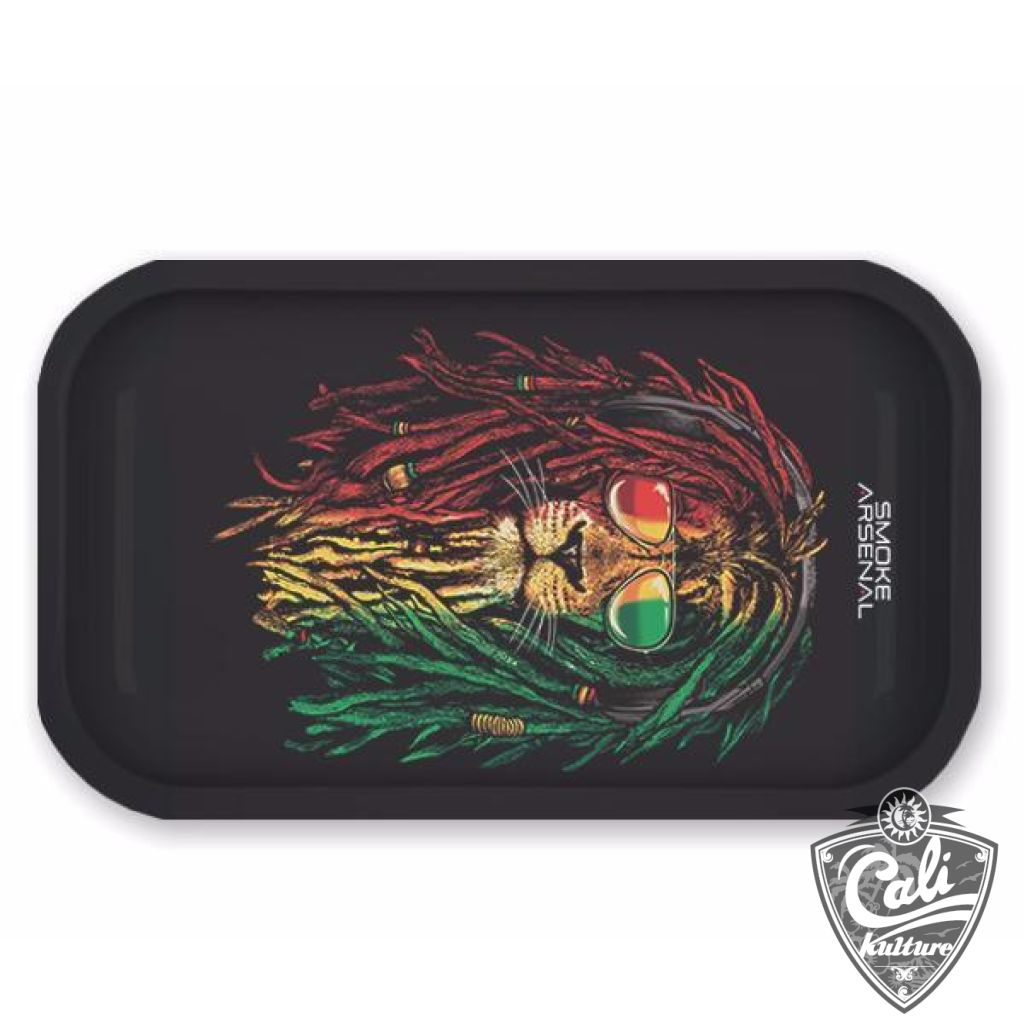 Smoke Arsenal Rolling Tray Medium 10.5'' X 6.25'' - Rasta Lion