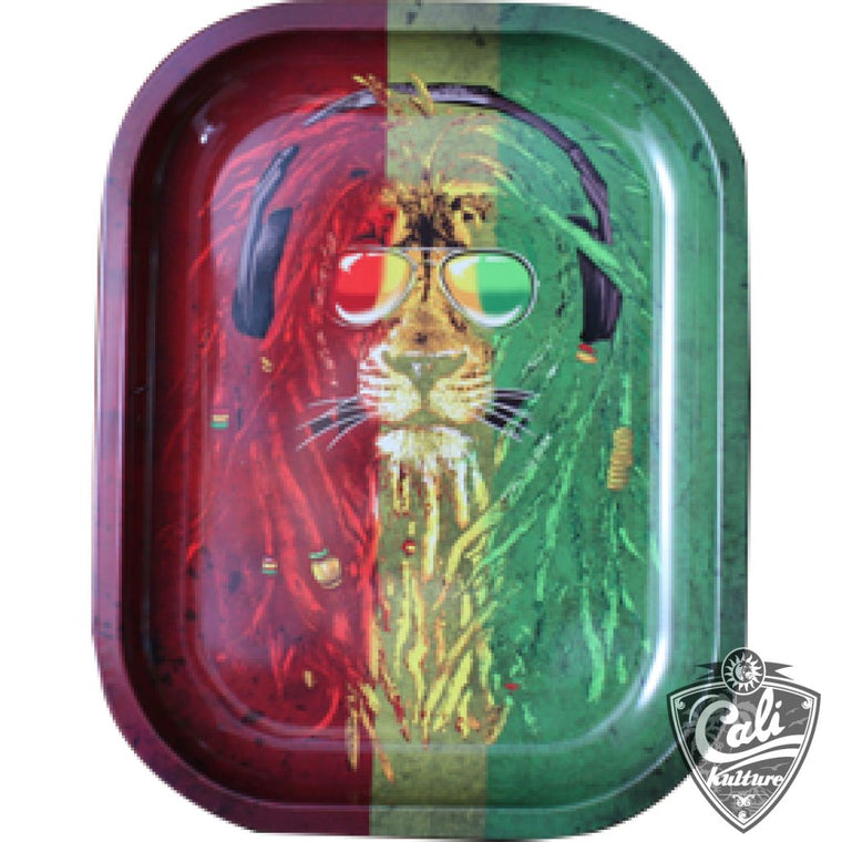 Smoke Arsenal Rolling Tray Small 7'' X 5.5'' - Rasta Lion