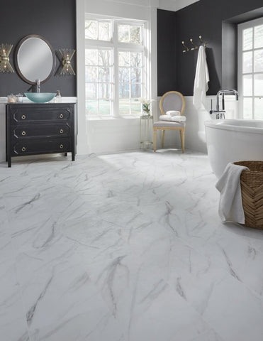 Luxury Adura Vinyl Tile - Legacy / White with Gray In stock