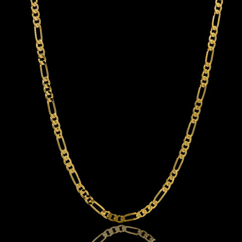 "14K GOLD FINISH 3 MM/24"" FIGARO LINK CHAIN NECKLACE SLIM"