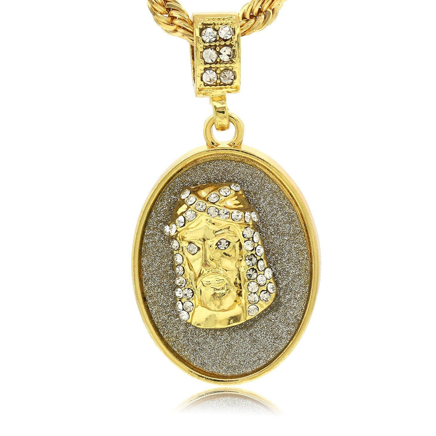 OVAL COIN JESUS PENDANT WITH GOLD ROPE CHAIN