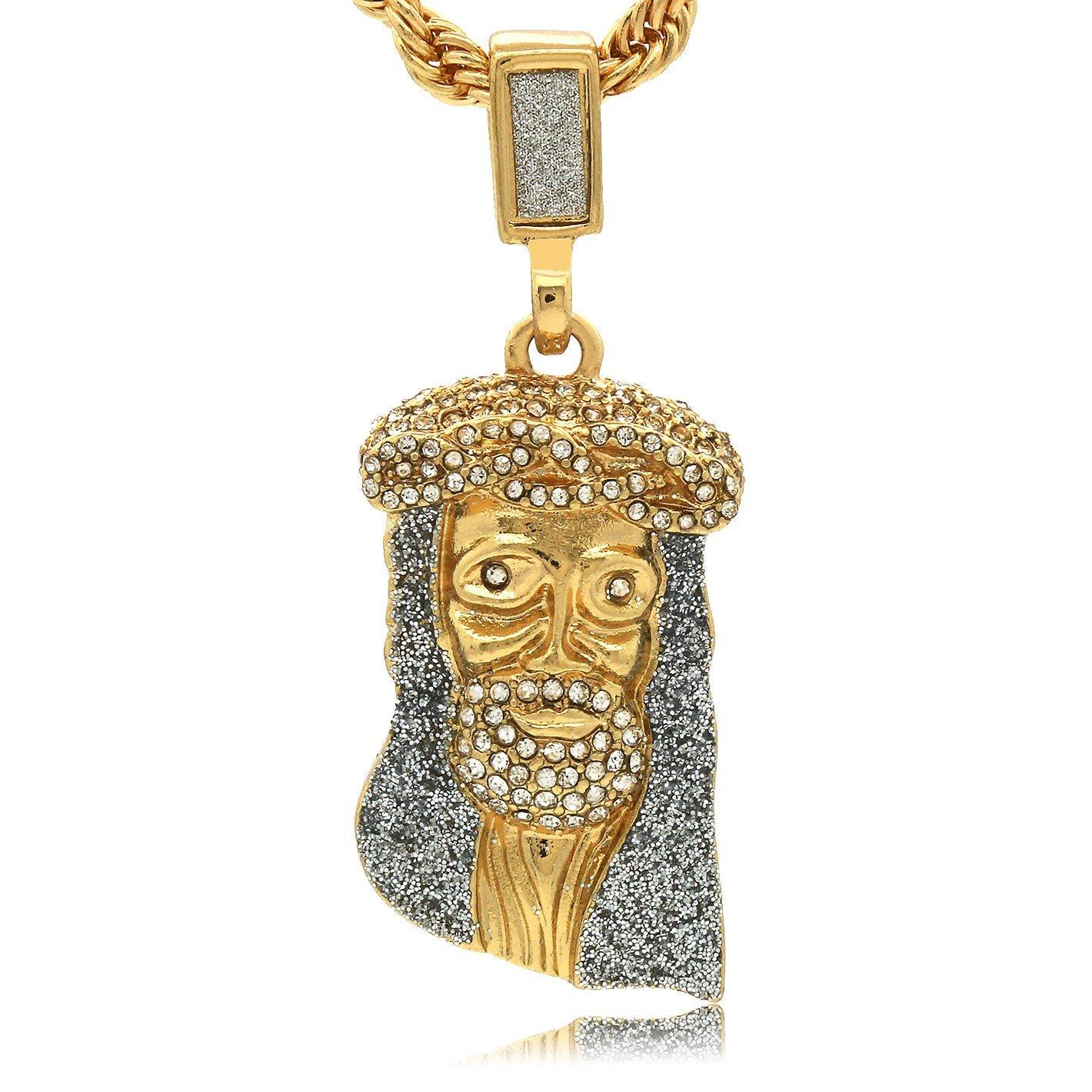 STARDUST CZ JESUS PENDANT WITH GOLD ROPE CHAIN