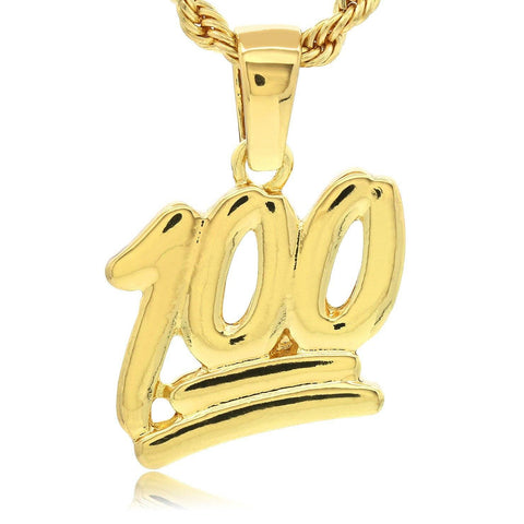 100 EMOJI PENDANT WITH GOLD ROPE CHAIN