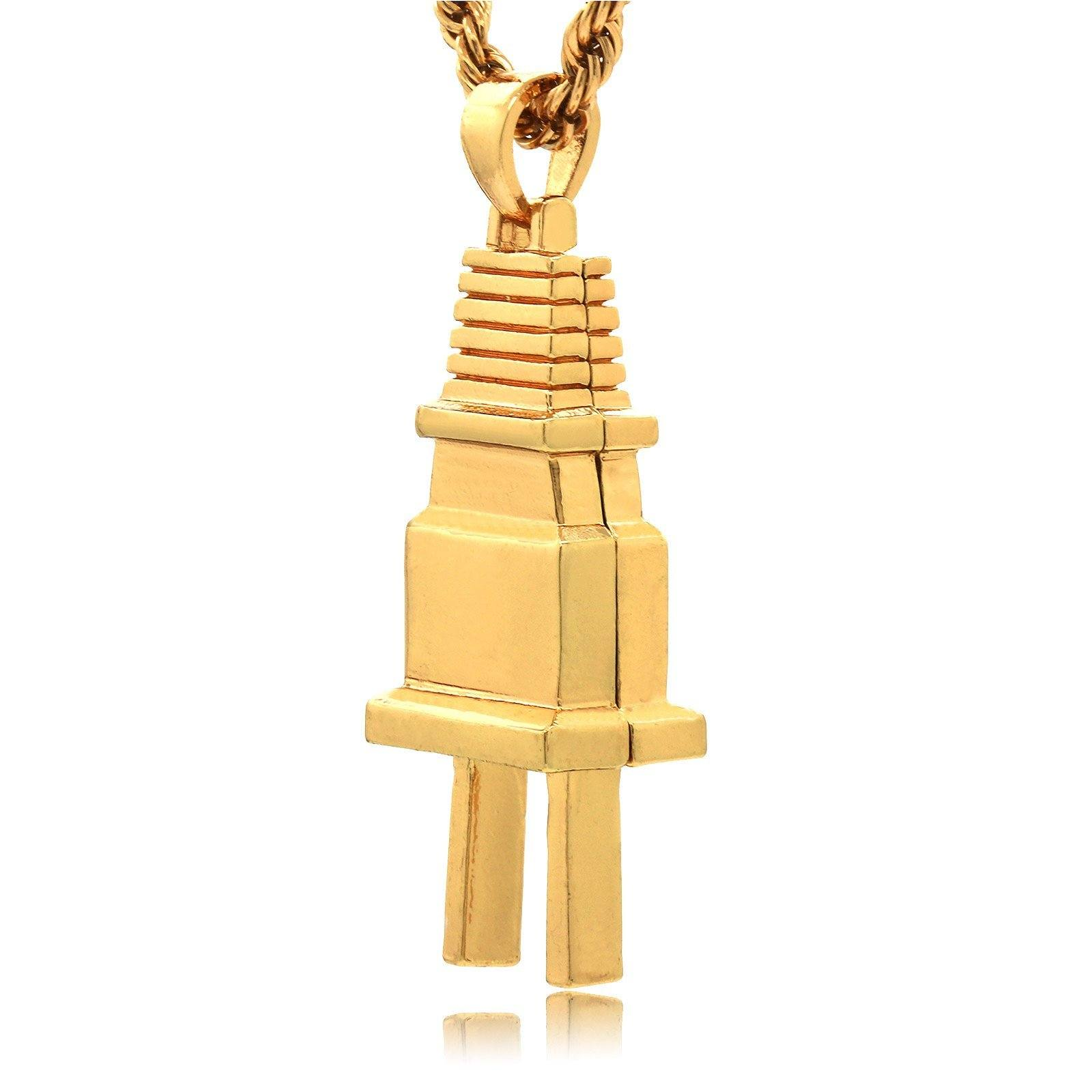 PLAIN PLUG PENDANT WITH GOLD ROPE CHAIN