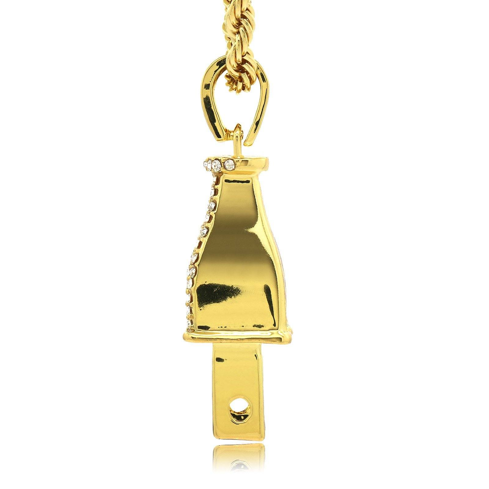 PLUG PENDANT WITH GOLD ROPE CHAIN