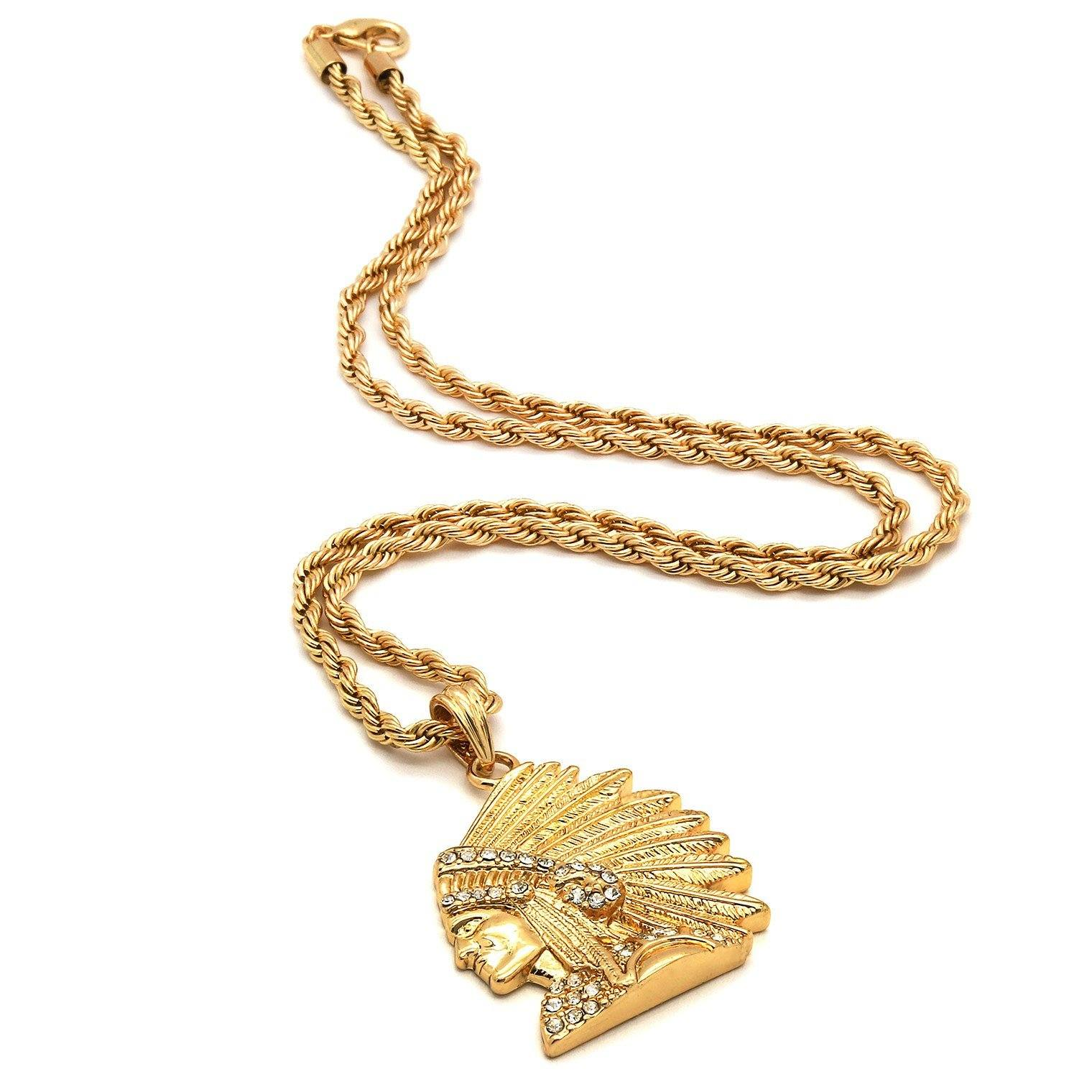 INDIAN CHIEF PENDANT WITH GOLD ROPE CHAIN