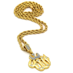ALLAH PENDANT WITH GOLD ROPE CHAIN