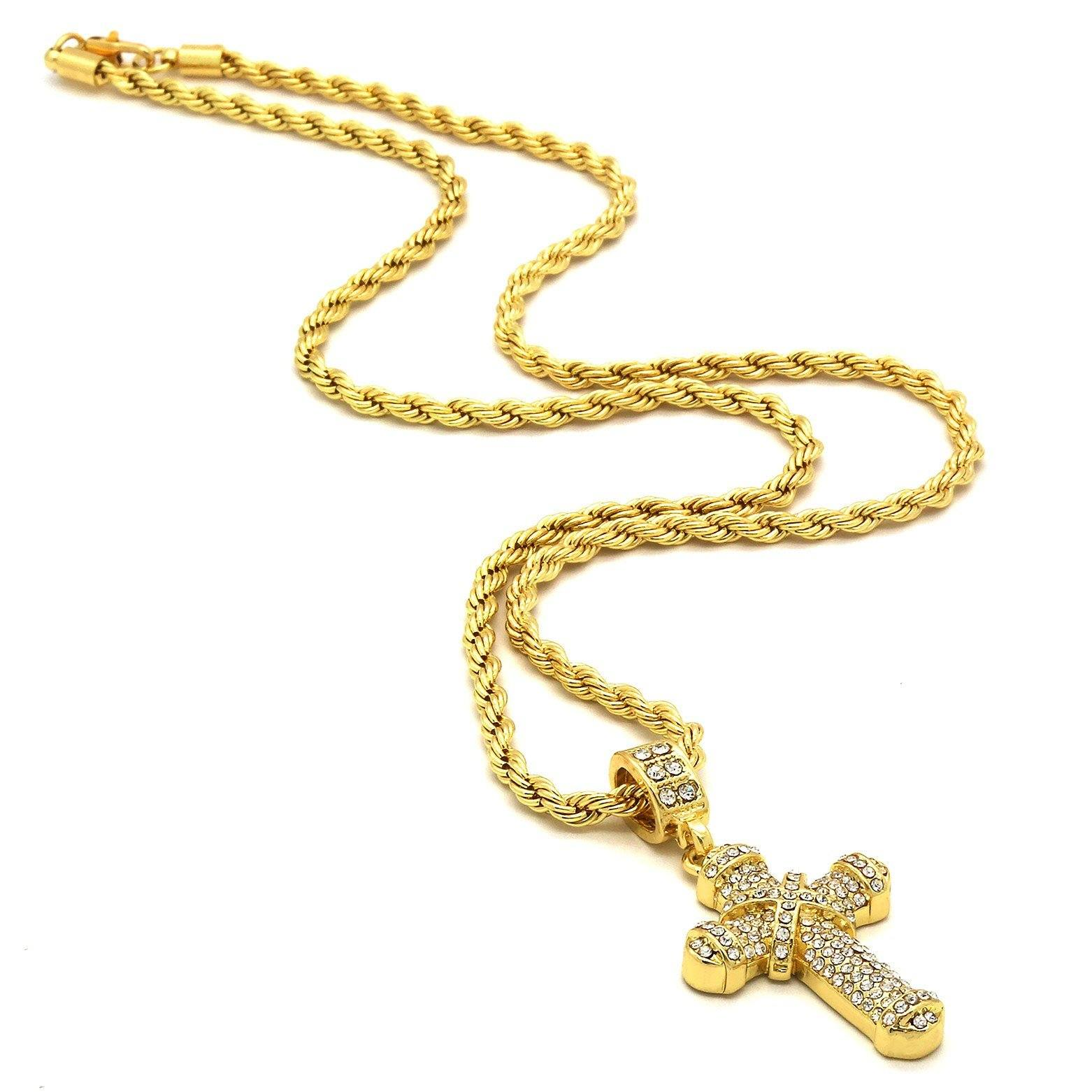 X CROSS PENDANT WITH GOLD ROPE CHAIN