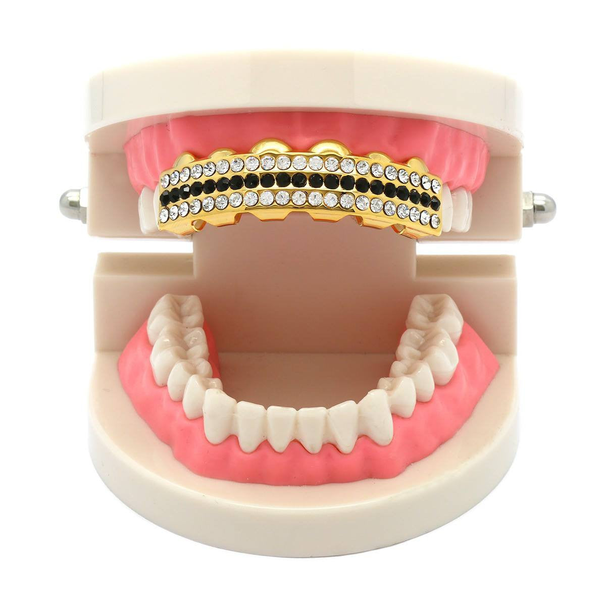 GOLD TOP GRILLZ 3 ROW BLACK