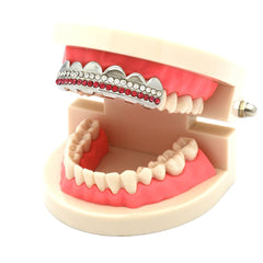 SILVER TOP GRILLZ 2 LINE PINK
