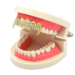GOLD TOP GRILLZ 2 ROW FANG