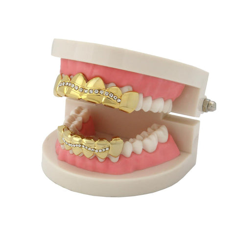 GRILLZ SET GOLD 1 ROW WAVE CZ