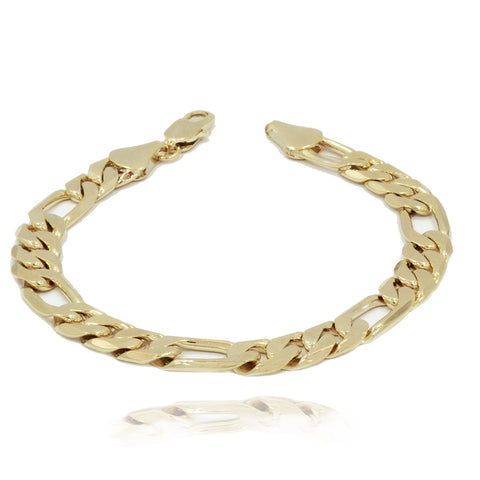"10MM/9"" 14K GOLD FINISH WIDE FIGARO LINK BRACELET"