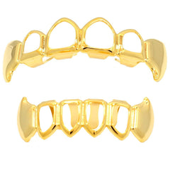 GRILLZ SET GOLD FANG PLAIN FANG 4 OPENING