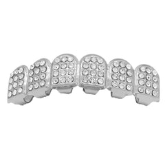 GRILLZ SET SILVER D SHAPE FULLY ICED
