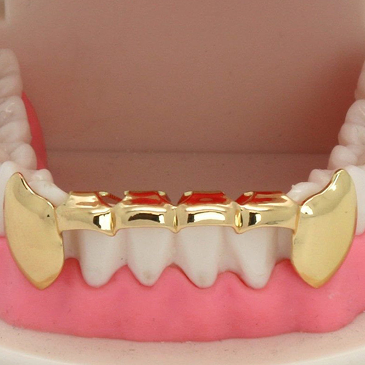 GOLD BOTTOM GRILLZ HALF FANG