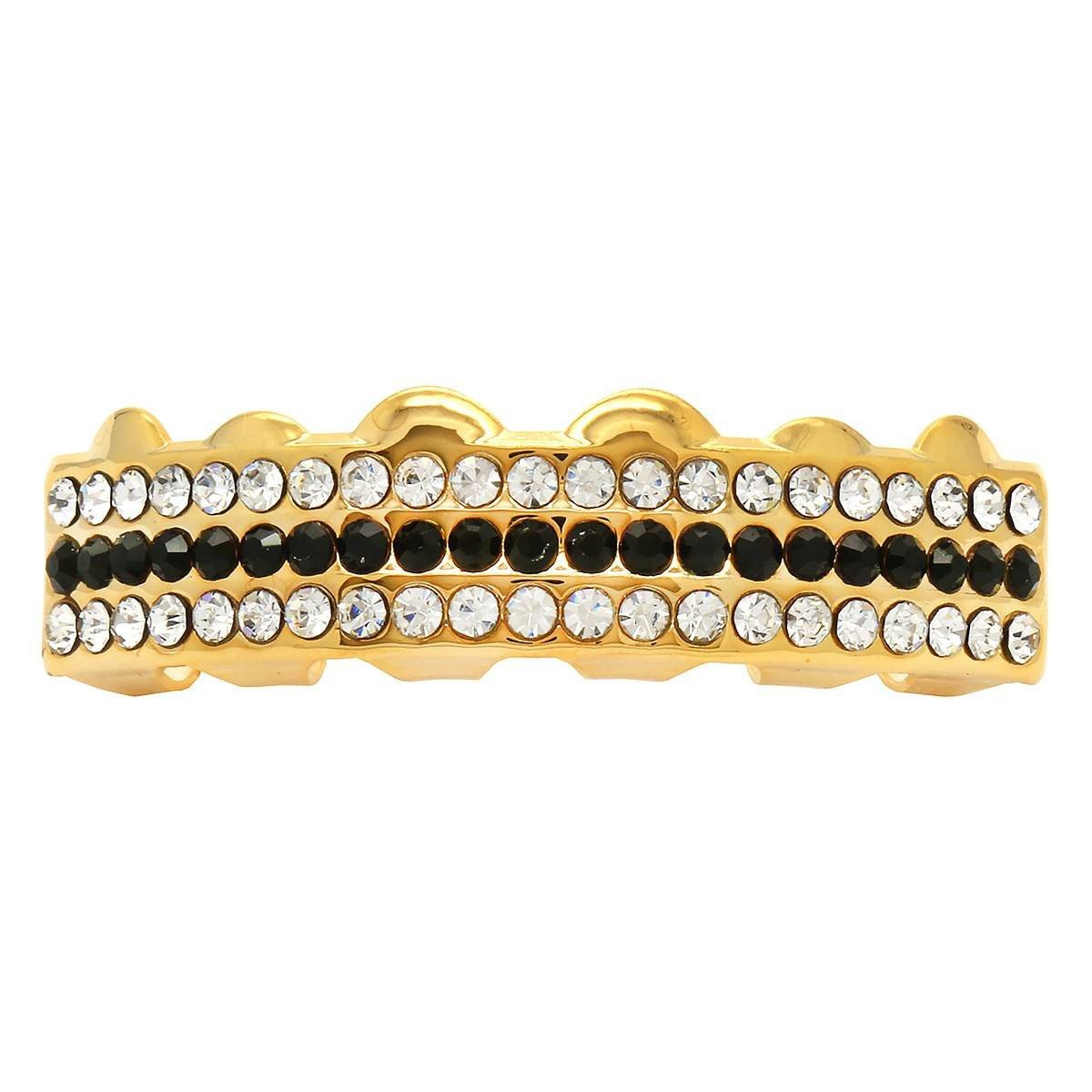 GRILLZ SET GOLD 3 ROW CLEAR BLACK