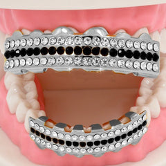 GRILLZ SET RHODIUM 3 ROW CLEAR BLACK