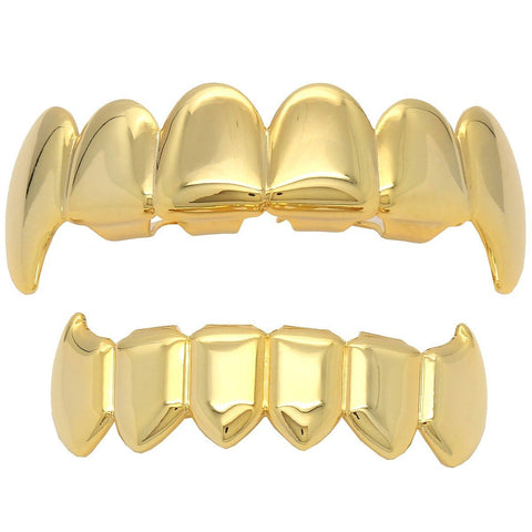 GRILLZ SET GOLD PLAIN FANG