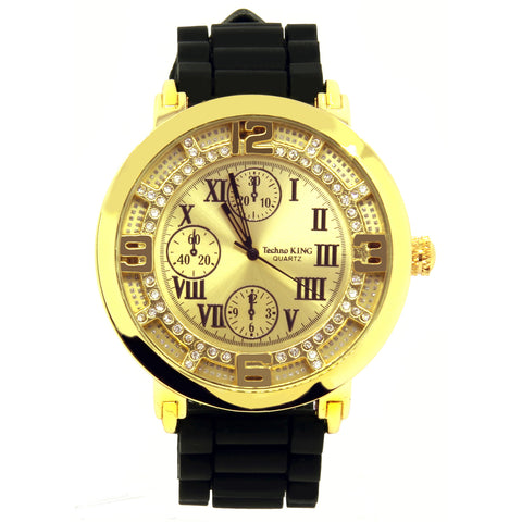 Gold Iced Out TK Black Silicone Band Watch