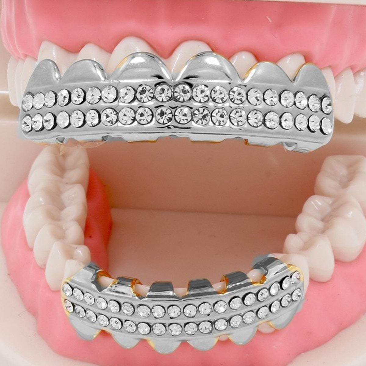 GRILLZ SET RHODIUM 2 ROW CLEAR