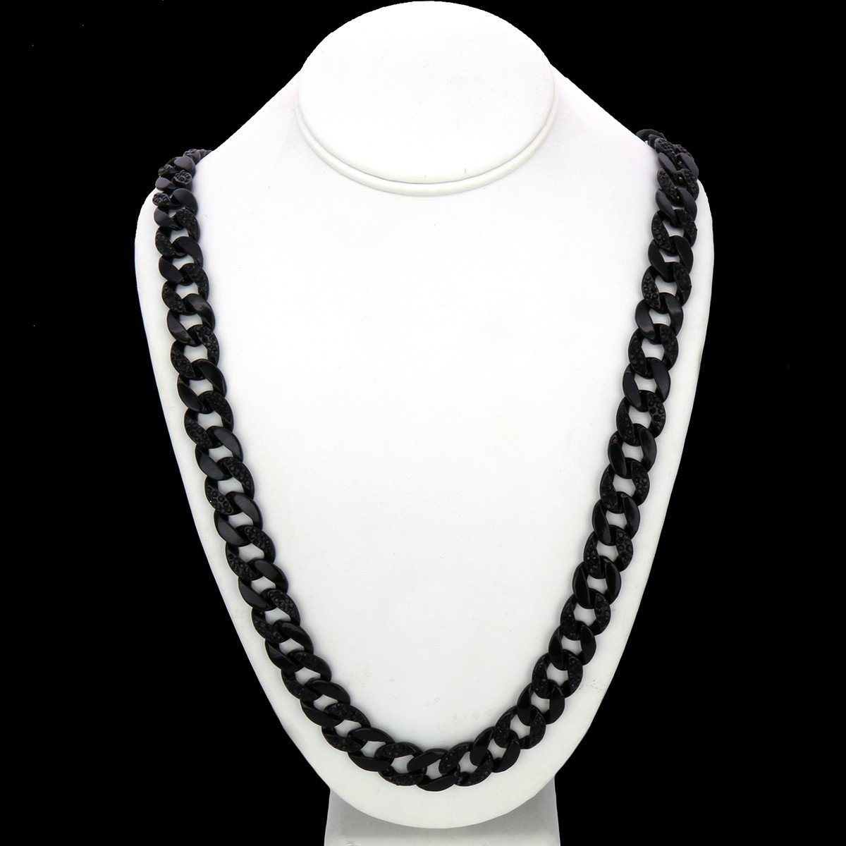 "Black Plated Cuban Half Cz Chain Necklace 15mm 30"" Inches"