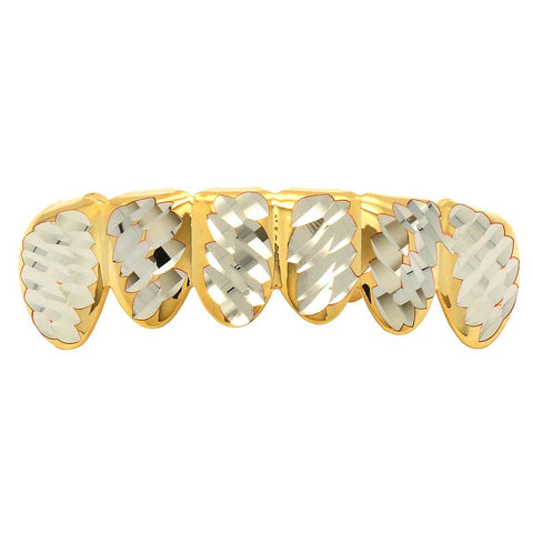 GOLD BOTTOM GRILLZ W/ SILVER DIAMOND-CUT