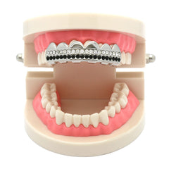 SILVER TOP GRILLZ 2 LINE BLACK