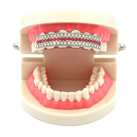 SILVER TOP GRILLZ 3 ROW PINK
