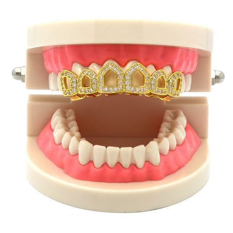 GOLD TOP GRILLZ 6 OPEN CZ