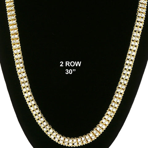 "GOLD 2 ROW  30"" TENNIS CHAIN"