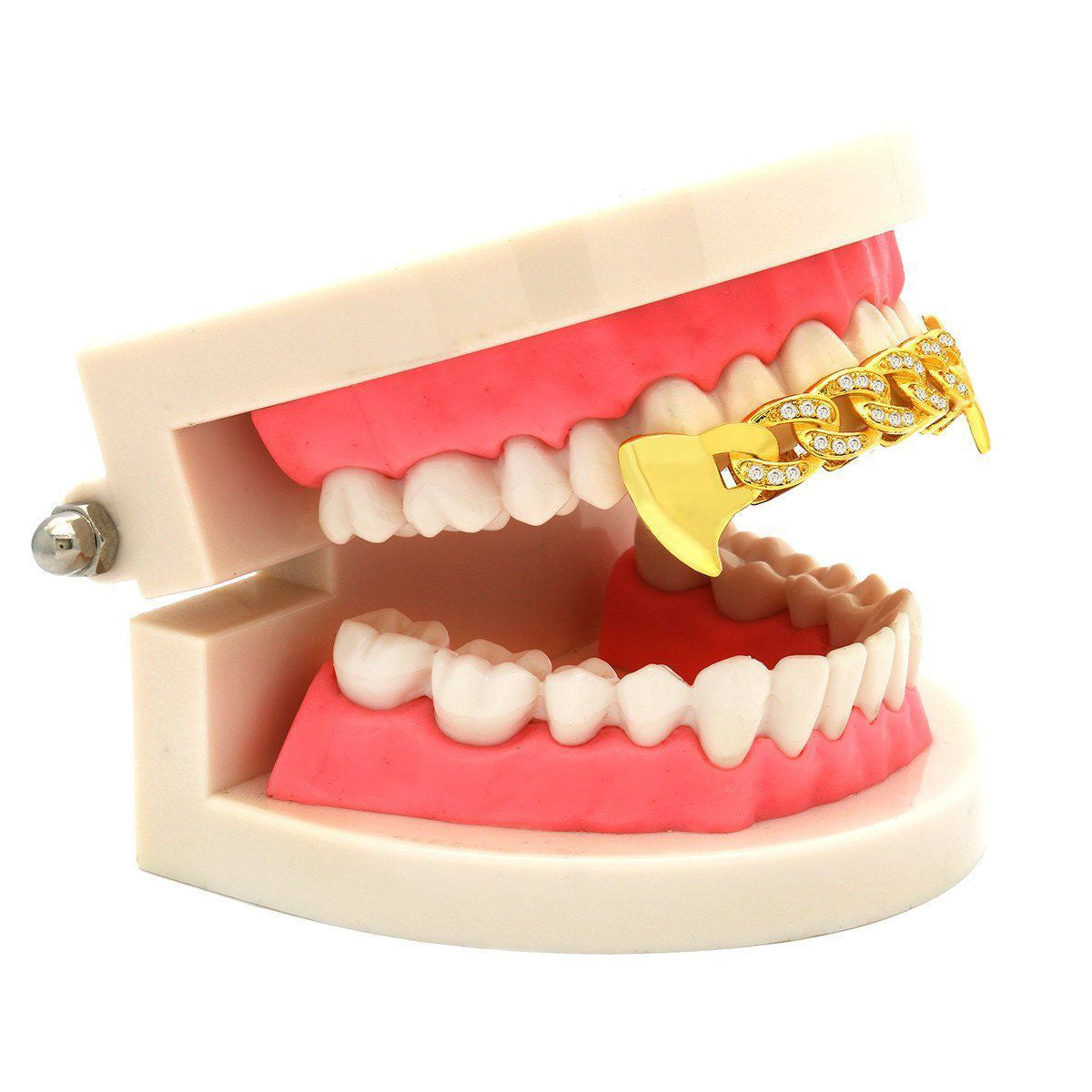 GOLD TOP GRILLZ CUBAN CZ FANG