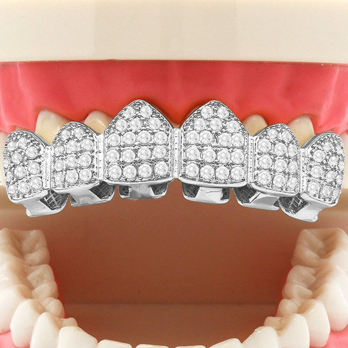 SILVER TOP GRILLZ CZ