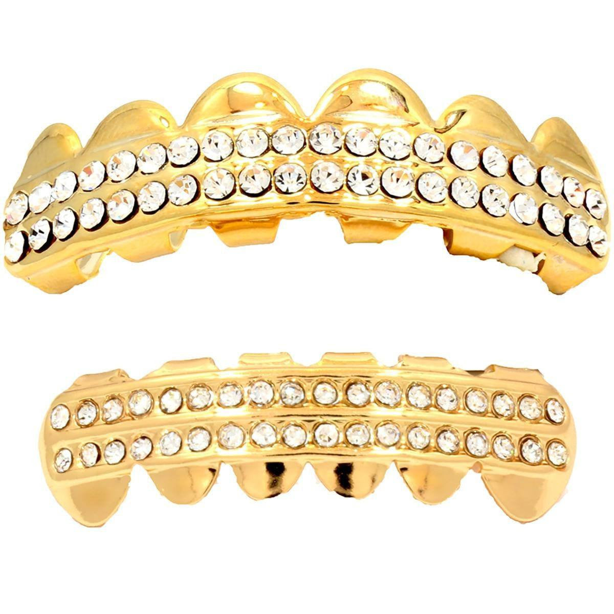 GOLD PLATED 2 ROW CLEAR BEST GRILLZ SET