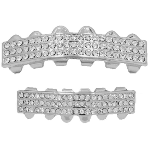 GRILLZ SET RHODIUM 3 ROW CLEAR