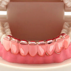 ROSE GOLD BOTTOM GRILLZ 8 TOOTH