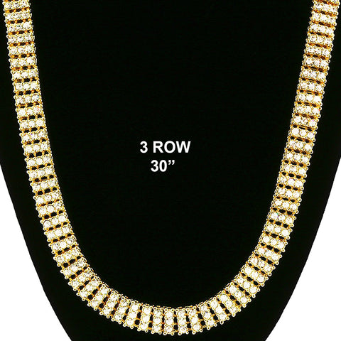 3 ROW ICED-OUT TENNIS GOLD/CLEAR CHAIN 30""