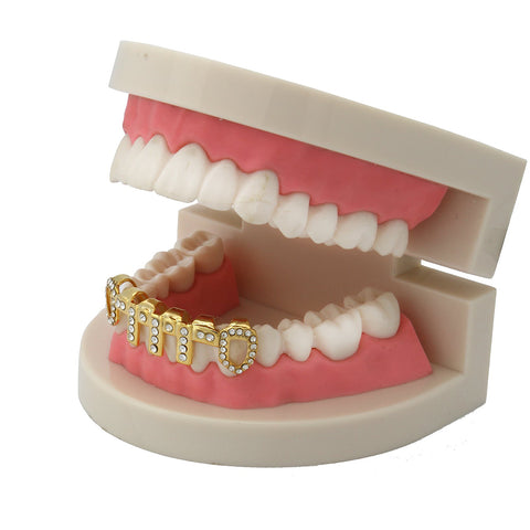 GOLD BOTTOM GRILLZ VERTICAL BARS ICE OUT