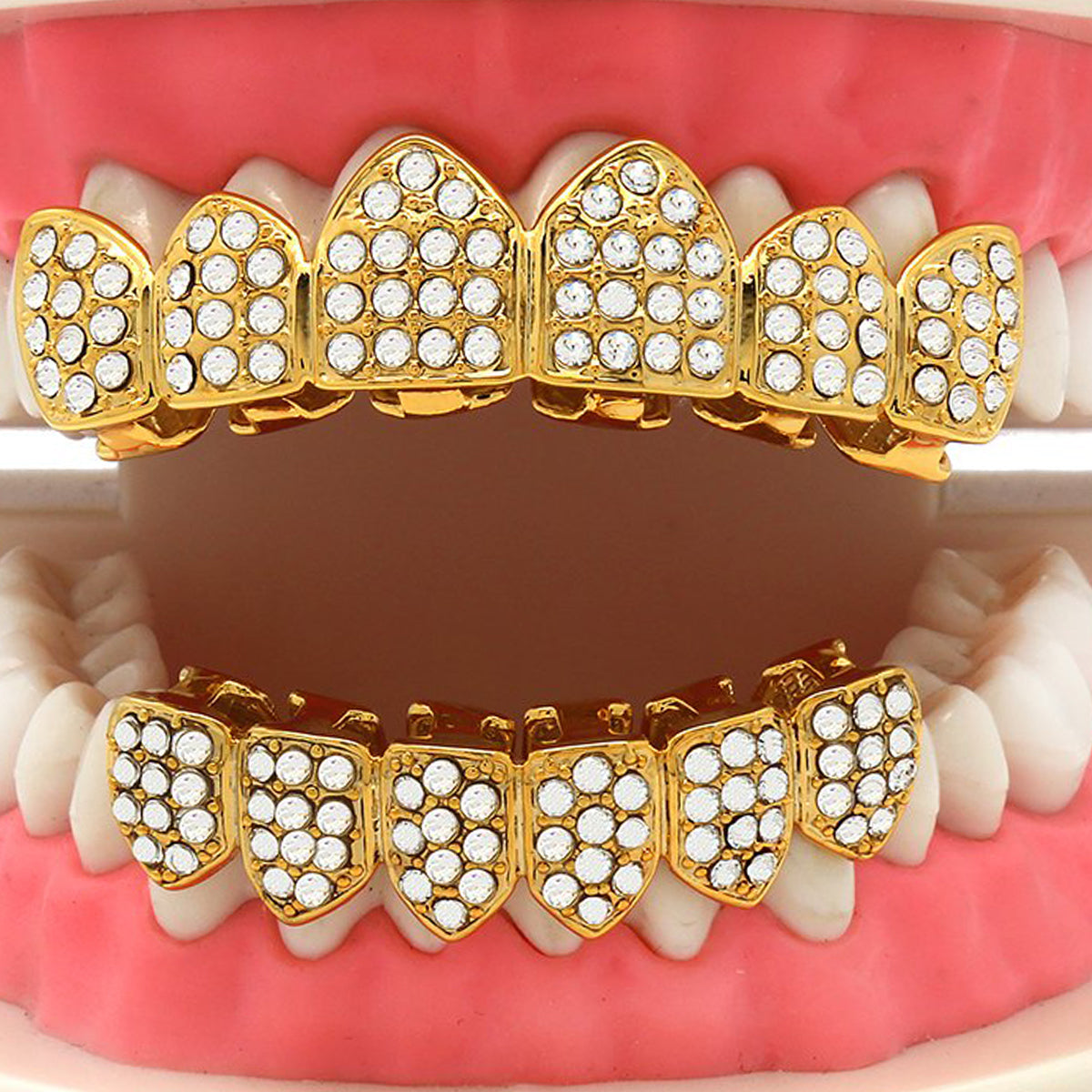 GRILLZ SET GOLD FULLY ICED OUT