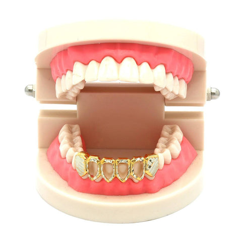 GOLD BOTTOM GRILLZ 4 OPEN W/SIL DIAMOND-CUT